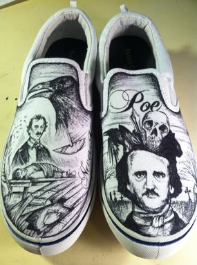Custom Made Hand Drawn Edgar Allen Poe Shoes