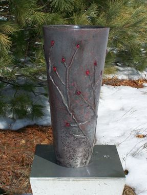 Custom Made Concrete Branch Vase With Red Glass Berries