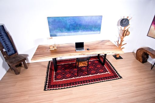 Custom Made Live Edge Wood Slab Table - Perfect For Conference Table