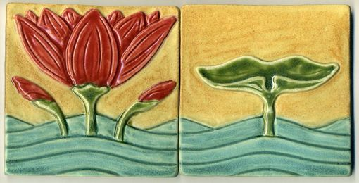 Custom Made Water Lily And Lily Pad Tile Set
