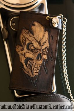 Custom Made Custom Vintage Leather Skull And Or Cross Biker Chain Wallet