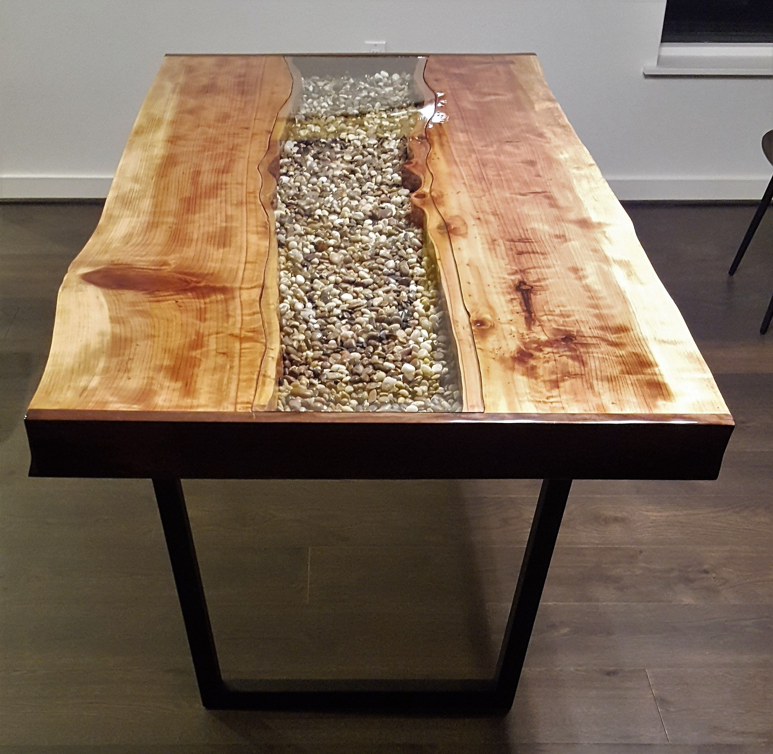 Hand Crafted Live Edge Redwood River Table By Mb Designs