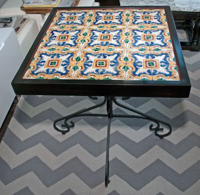 Custom Made Spanish Artist Tile Table With Broad Icon Antique Base