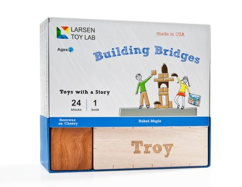 Custom Made Building Bridges Children's Book And Personalized Block Set