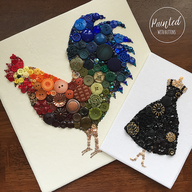 Custom Made Custom Rooster Button Art Wall Hanging, 10x10 Inches