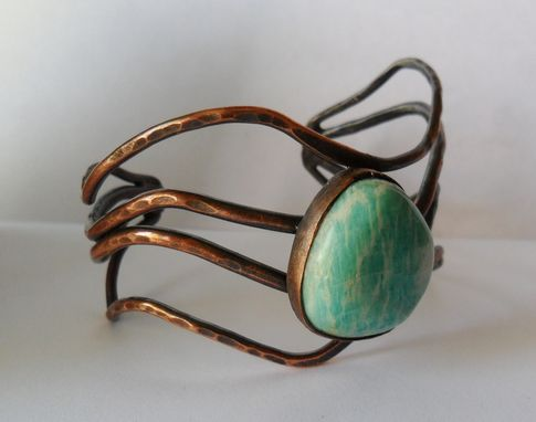 Custom Made Amazonite And Copper Cuff Bracelet For Women