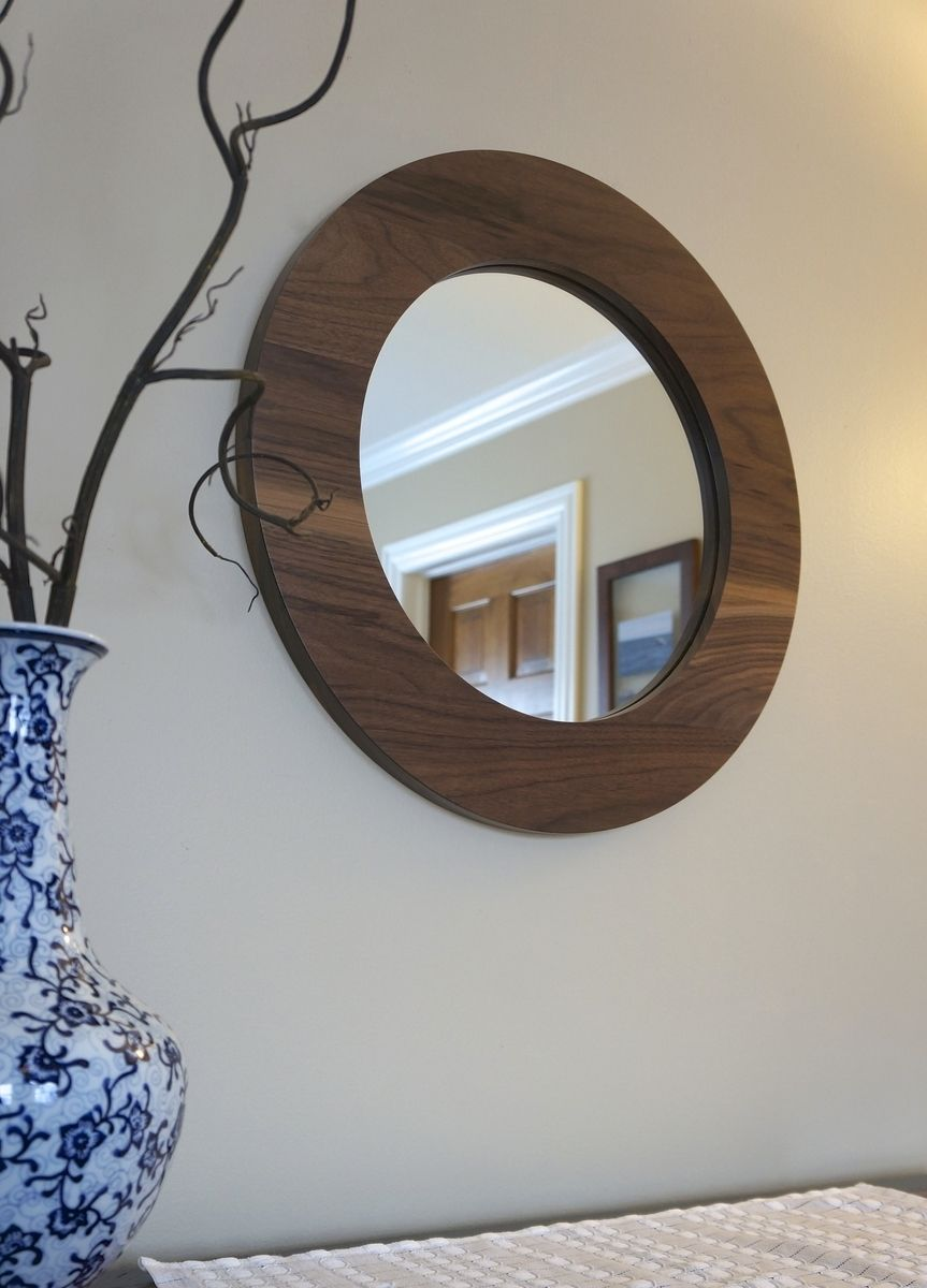 "Hand Made 22"" Solid Walnut Round Decorative Mirror by ..."