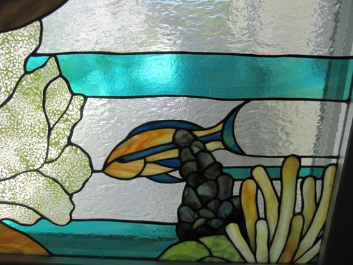 Custom Made Stained Glass Window Of A Seascape