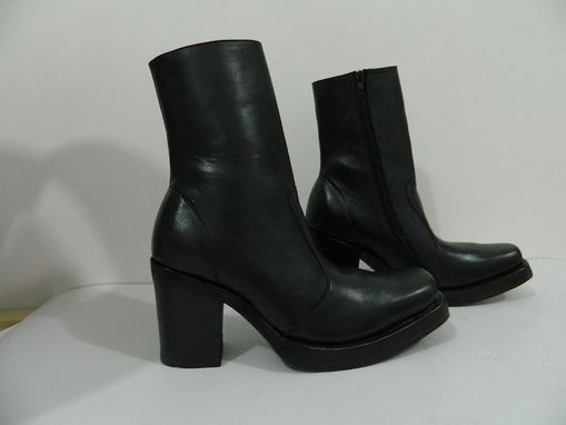 Custom Made Made To Order Square Toe Boots With Double Lether Soles And 4 Inch High Heel