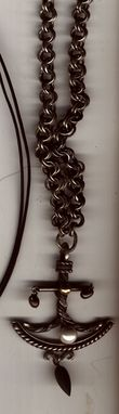 Custom Made Sterling Anchor, Handmade Chain, Pearl, Matte Hematite
