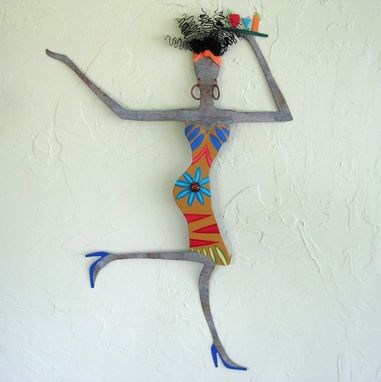 Custom Made Handmade Upcycled Metal Exotic African Lady Wall Art Sculpture