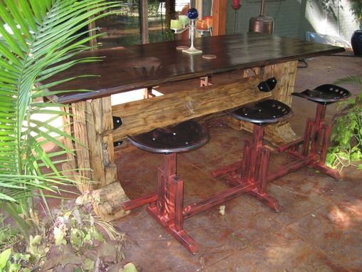 Custom Made Outdoor Dining Table With Benches..