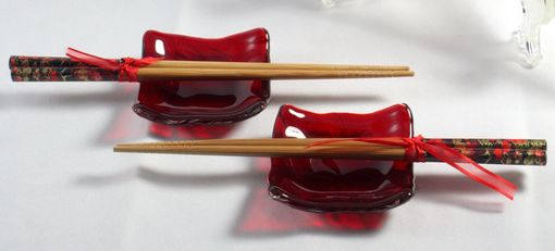 Custom Made 6-Piece Fused Glass Sushi Set With Koi Design