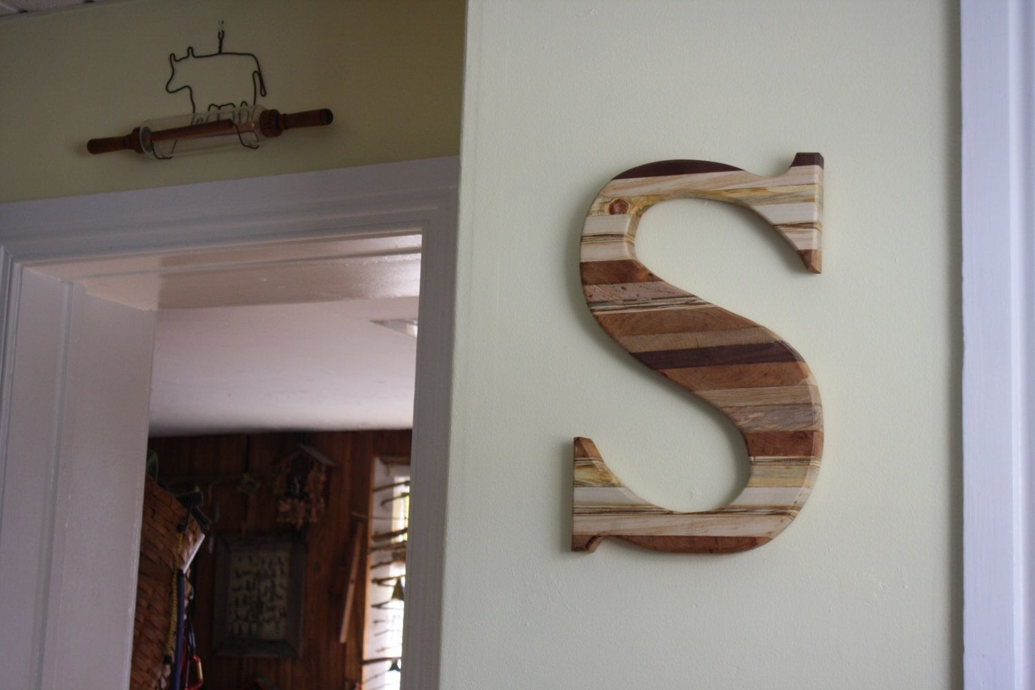 custom made large reclaimed wood monogram letter