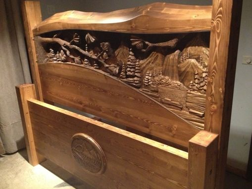 Hand Made King Size Headboard Amp Footboard Waterfall Amp Pine Forest Scene Hand Carved By Scott