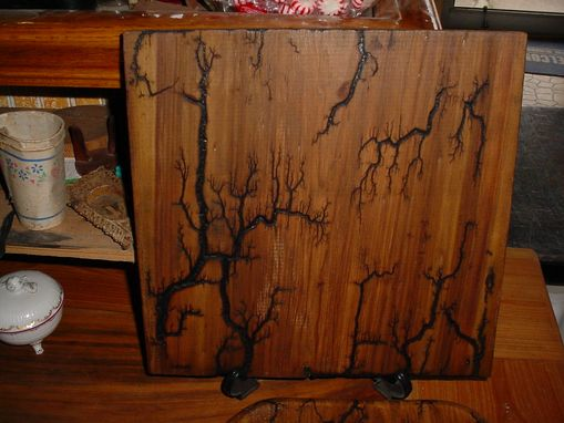 Custom Made Captured Lighting On An Oak Commode Seat, High Voltage Wood Carving