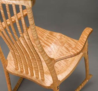 Custom Made Butterfly Rocking Chair In Tiger Cherry