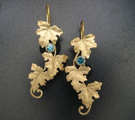 Custom Made 18k Gold & Zircon Maple Leaf Earrings