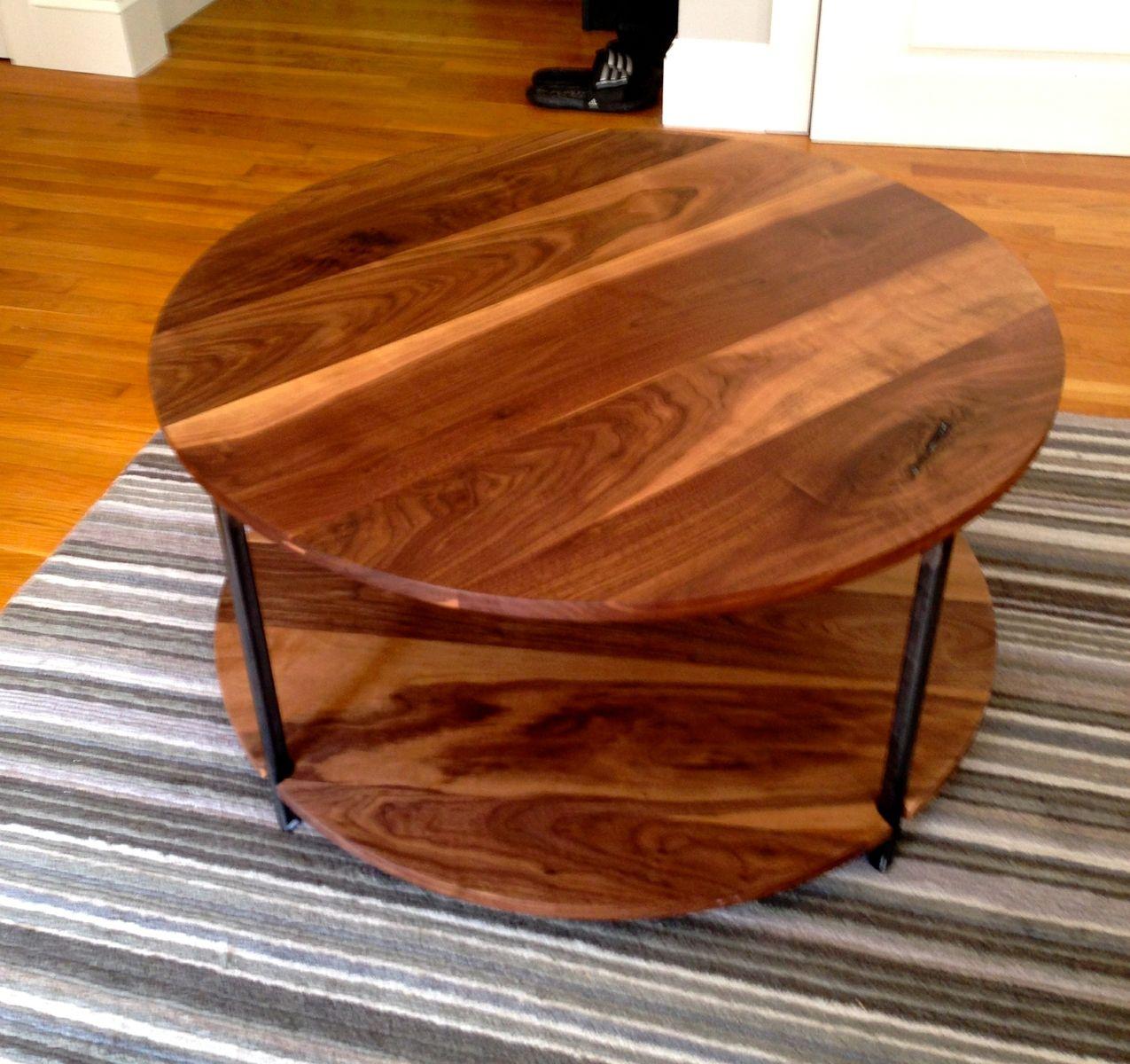 Custom Made Walnut Two Level Round Coffee Table
