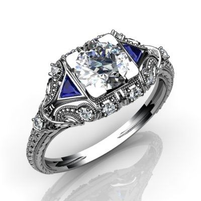 Hand Crafted Diamond And Blue Sapphire Vintage Art Deco