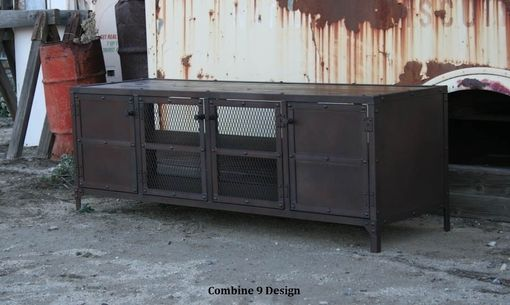 Custom Made Media Console, Credenza, Buffet, Industrial, Mid Century Modern, Reclaimed Wood, Hutch