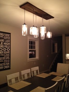 Custom Made Custom Chandelier- Reclaimed Wood And Jar