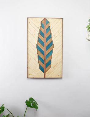 Custom Made Bluejay Feather Wood Artwork