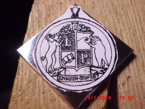 Custom Made Hand-Saw-Pierced, 3-D Carved 18k White-Gold Family Crest Pendant