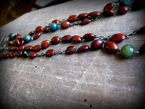 Custom Made Cart Tag And Bullet Pendant On Rosary Beans And Green Agate Beads Two-Strand Necklace