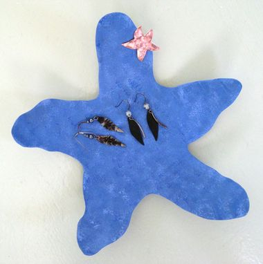 Custom Made Starfish Jewelry Tray Reclaimed Metal Blue