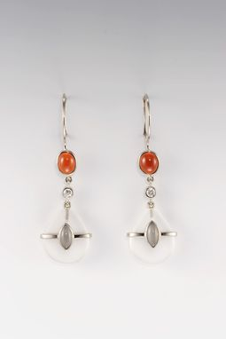 Custom Made Earrings Made With Fire Opals, Tray Moonstones And Diamonds