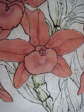 Custom Made Crimson Blooms - Glass Fusing Artwork
