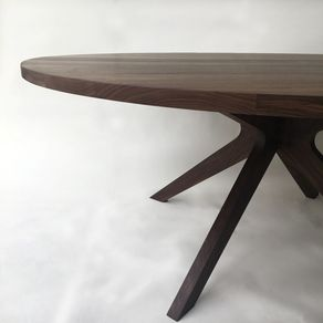 Contemporary Modern Solid Walnut Round Dining Table With Sculptural Legs Seats 6 8