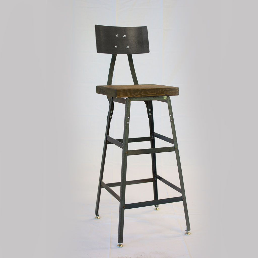 Buy A Hand Crafted Reclaimed Wood Stool With Gunmetal