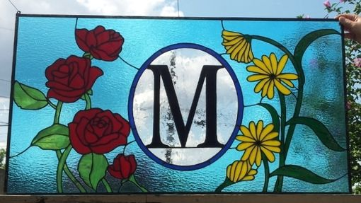 "Custom Made Stained Glass Transom Window - ""Roses & Black Eyed Susans"" (Tw-190)"