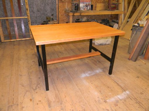 Custom Made Reclaimed Cherry Table With Steel Legs