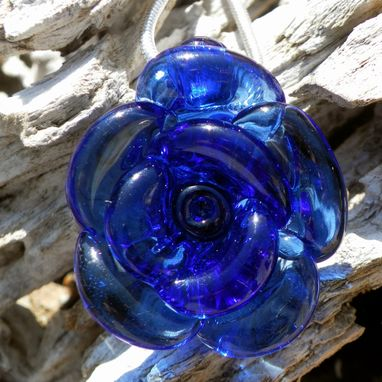 Custom Made Sterling Silver Necklace Deep Blue Glass Rose Pendant