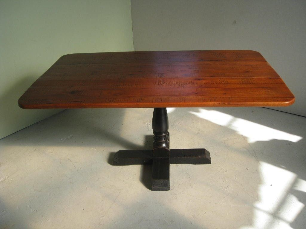 Custom Made Square Pedestal Base Dining Table With Drop Leaf Sides