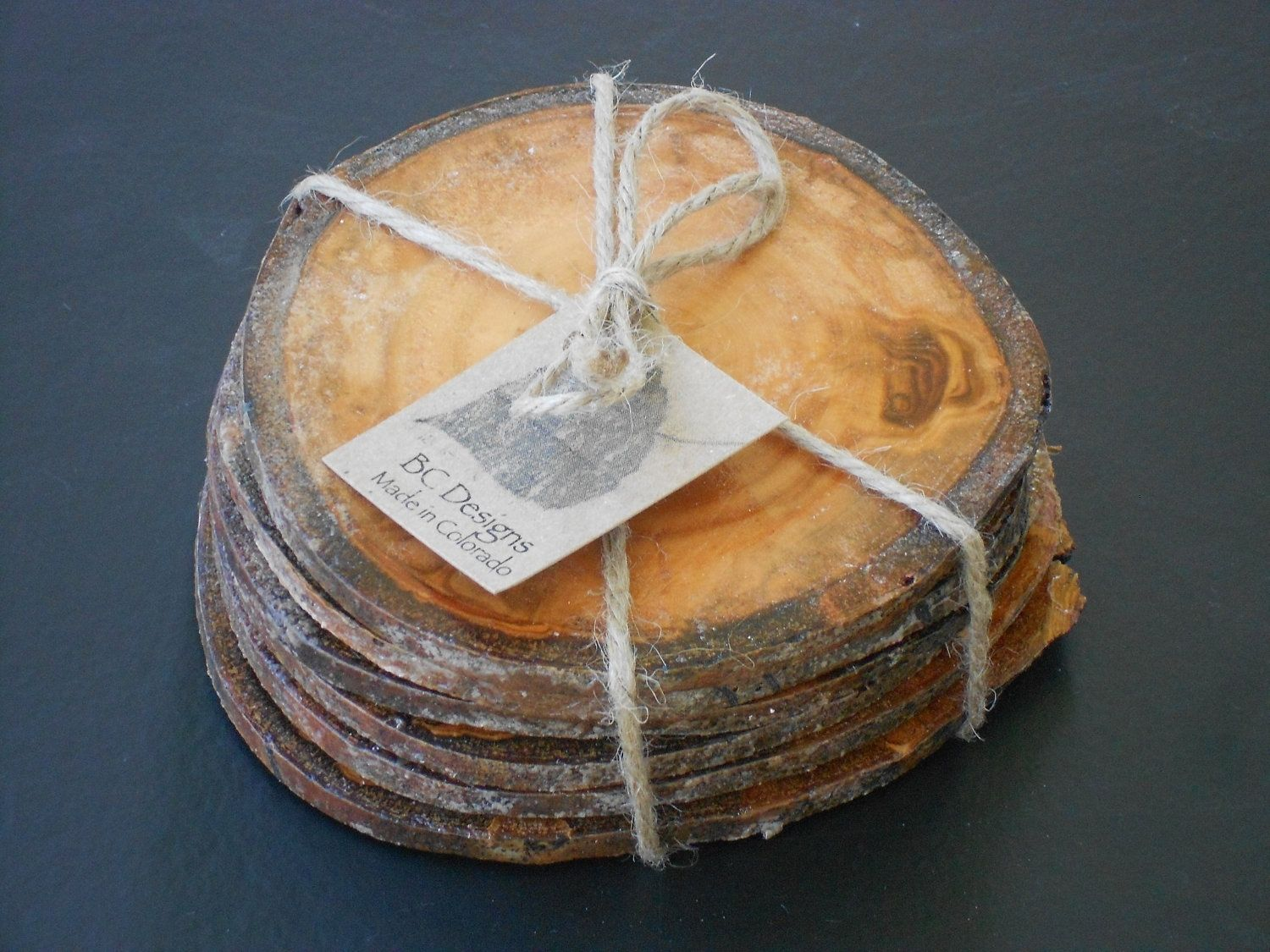 Hand Made Coasters Gift Wrapped Colorado Aspen Wood Coasters Set Of 6 By Bc Creative Designs