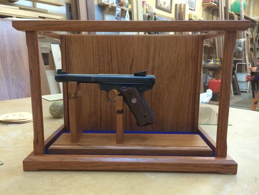 Custom Made Pistol/Gun Display Case Wood And Glass - Brazilian Cherry  - Many Wood Options Available