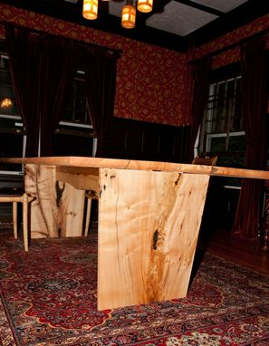 Custom Made Slver Maple Crotch Figure Dining Table