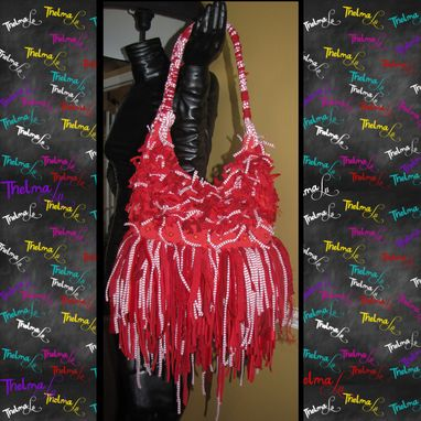 Custom Made Red And White Handbag,Striped Fringe Purse,Fringe Handbag,Hippie,Boho,Custom Made,Purse,Handbag