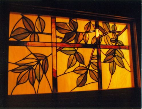 Custom Made Elm Lattice Stained Glass Transom