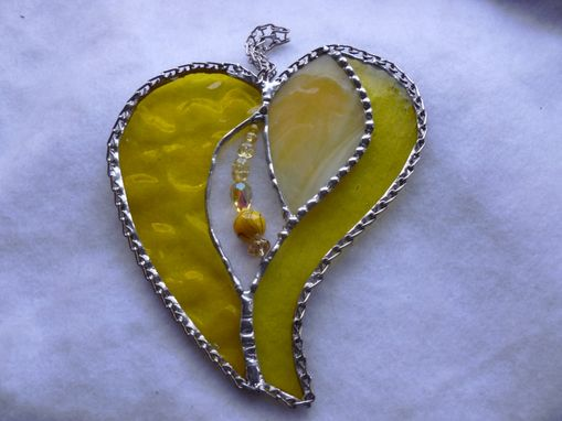 Custom Made Bright Yellow Stained Glass Heart With Beads And Crystals
