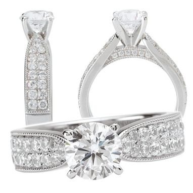 Custom Made *18k White Gold Cathedral-Style Diamond Engagement Ring Semi-Mount Holds Peg Head