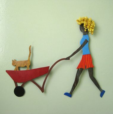 Custom Made Handmade Upcycled Metal Garden Lady With Cat Wall Art Sculpture