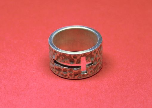 Custom Made Hammered Silver Ring With Cross Cut Out