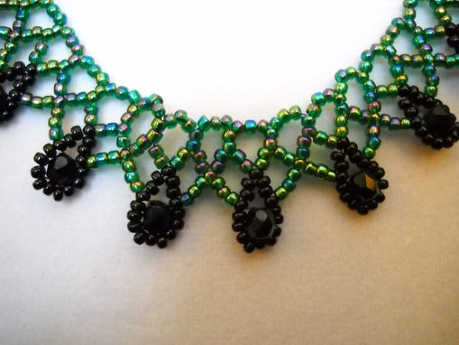 Custom Made Green/Purple Mix And Black Russian Netting Necklace