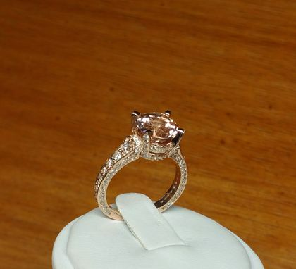 Custom Made Stunning Morganite And Diamonds Rose Gold Engagement Ring