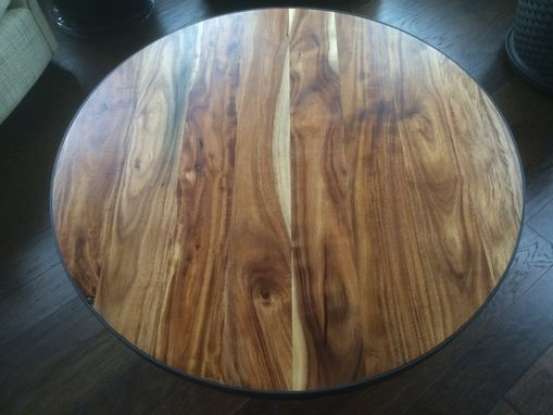 Custom Made Circle Acacia Coffee Table With Steel Band And Hairpin Legs
